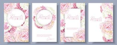 Romantiker blommar baneruppsättningen royaltyfri illustrationer
