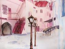 Romantiker för målningstadsgata tänder i rosa färg. royaltyfri illustrationer