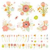 Romantiker- och förälskelsesommarbuketter av blommor stock illustrationer