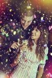 Romantiker och roliga nytt års beröm Arkivbilder