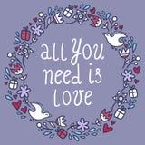 Romantikerrundaram med blommor, hjärtor, gåvor och fåglar stock illustrationer
