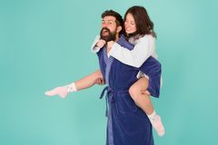 Romantinc couple in love. Happy family. woman and man in robe. Perfect morning. Having fun. happy couple in robe. home stock photo