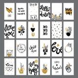 Romantique et amour carde la collection avec le lettrage Illustration Stock