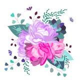 Romantique floral de vecteur, rose et composition pourpre Fleurs à la mode, succulentes, feuilles, verdure Été, ressort, épousant illustration libre de droits