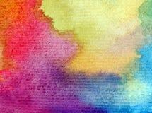 Romantique frais de nature de fond d'art d'aquarelle de ciel de lever de soleil coloré sensible de jour Photos stock