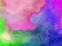 Romantique frais de nature de fond d'art d'aquarelle de ciel de lever de soleil coloré sensible de jour Images libres de droits