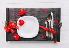 Romantisch avondmaal Plaat, vork en mes Stock Afbeelding