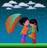 ` Romantisch Beeldverhaalpaar in Regen` Vectorillustratie stock illustratie