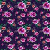 Romantisch bloemen naadloos patroon met roze bloemen en blad Druk voor textiel eindeloos behang Hand-drawn waterverf stock illustratie