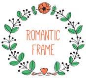 Romantisch bloemen rond kader Stock Foto's