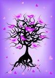 Romantisch boomsilhouet met vogels Royalty-vrije Stock Afbeelding