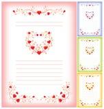 Romantisch brievenmalplaatje met harten Royalty-vrije Stock Afbeelding