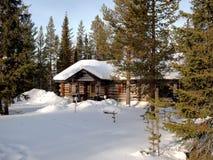Romantisch chalet in Lapland Stock Afbeeldingen