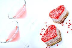 Romantisch dessert voor twee royalty-vrije stock afbeelding