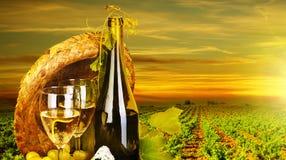 Romantisch diner bij wijngaard royalty-vrije stock foto's