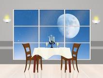 Romantisch diner in het maanlicht Royalty-vrije Stock Afbeeldingen