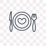 Romantisch diner vectordiepictogram op transparante achtergrond wordt geïsoleerd, stock illustratie