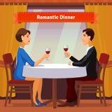 Romantisch Diner voor Twee Man en Vrouw Royalty-vrije Stock Fotografie