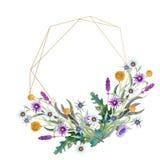 Romantisch geometrisch kader Wildflowers in waterverf Huwelijksconcept met bloemen Bloemenaffiche, uitnodiging watercolor vector illustratie