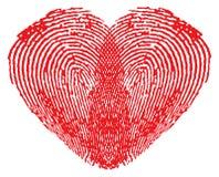 Romantisch hart dat van vingerafdrukken wordt gemaakt Stock Foto