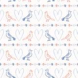 Romantisch het Hart Naadloos Vectorpatroon van de Dwergpapegaaienpenseelstreek Hand Getrokken Minnaars stock illustratie