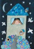 Romantisch huis in de nacht Stock Afbeelding