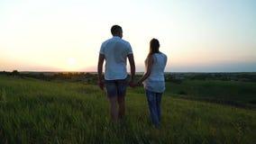 Romantisch jong gelukkig zwanger paar die in hoog gras bij zonsondergang lopen stock videobeelden