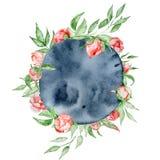Romantisch kader met het malplaatje van de bloemenkaart Waterverfpioenen met groene bladeren op de indigoachtergrond Illustratie Stock Afbeeldingen