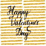 Romantisch Kalligrafiecitaat, het Van letters voorzien Gelukkige Valentijnskaartendag Getrokken de hand borstelde typografisch on Royalty-vrije Stock Fotografie