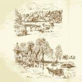 Romantisch landschap royalty-vrije illustratie