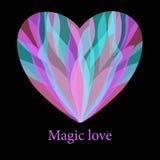 Romantisch magisch kleurrijk hart met plonsachtergrond royalty-vrije illustratie