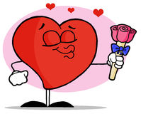 Romantisch Mannelijk Rood Hart dat Zijn Lippen tuit Royalty-vrije Stock Foto