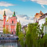 Romantisch middeleeuws Ljubljana, Slovenië, Europa stock foto