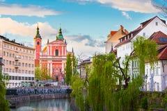 Romantisch middeleeuws Ljubljana, Slovenië, Europa stock fotografie
