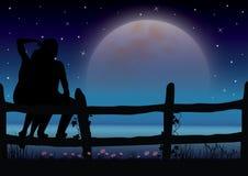 Romantisch mooi maanlicht Vector graphhics Stock Afbeelding