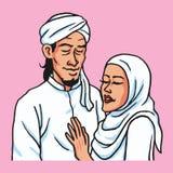 Romantisch Moslimpaar in Liefde Vectorillustratie Stock Foto's
