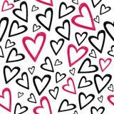 Romantisch naadloos patroon met hand getrokken harten stock illustratie