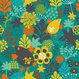 Romantisch naadloos patroon met leuke uitstekende bloemen en vogels royalty-vrije illustratie