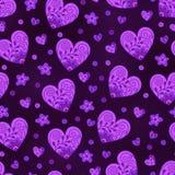 Romantisch Naadloos Patroon van Lilac Harten op Donkere Achtergrond stock illustratie