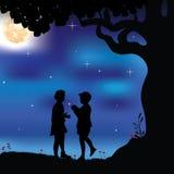 Romantisch onder de boom, Vectorillustraties Stock Fotografie