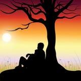 Romantisch onder de boom, Vectorillustraties Stock Foto