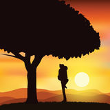 Romantisch onder de boom, Vectorillustraties Stock Afbeelding