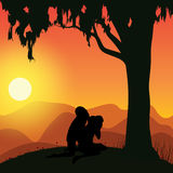 Romantisch onder de boom, Vectorillustraties Royalty-vrije Stock Afbeelding