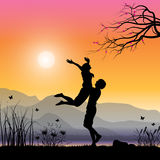 Romantisch onder de boom, Vectorillustraties Royalty-vrije Stock Foto's