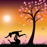 Romantisch onder de boom, Vectorillustraties Stock Afbeeldingen