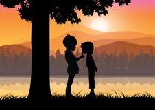 Romantisch onder de boom, Vectorillustraties Royalty-vrije Stock Afbeeldingen