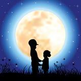 Romantisch onder het maanlicht, Vectorillustraties Stock Foto's