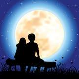 Romantisch onder het maanlicht, Vectorillustraties Stock Foto