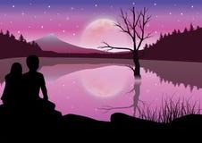 Romantisch onder het maanlicht, Vectorillustraties Stock Afbeeldingen