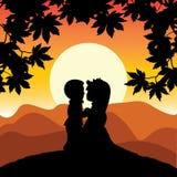 Romantisch op een heuveltop , Vectorillustraties Stock Fotografie